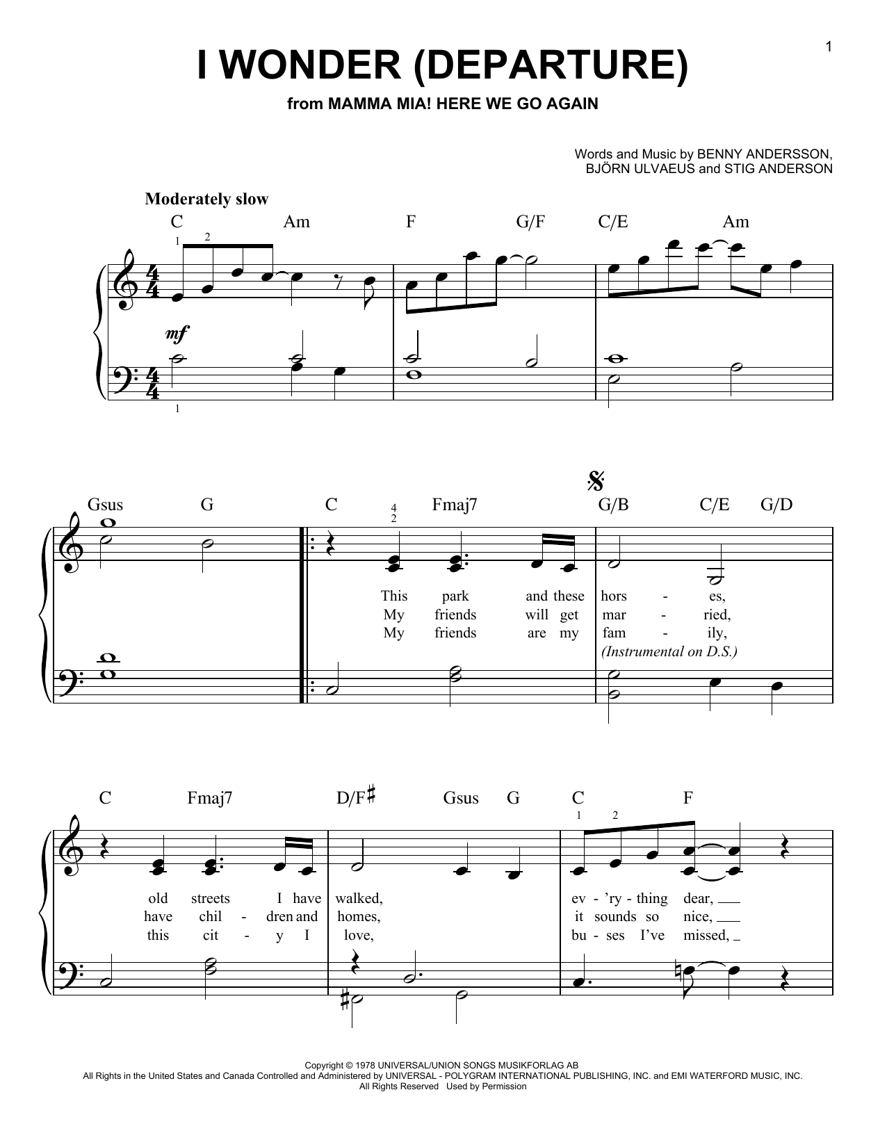 ABBA I Wonder (Departure) (from Mamma Mia! Here We Go Again) sheet music notes and chords. Download Printable PDF.