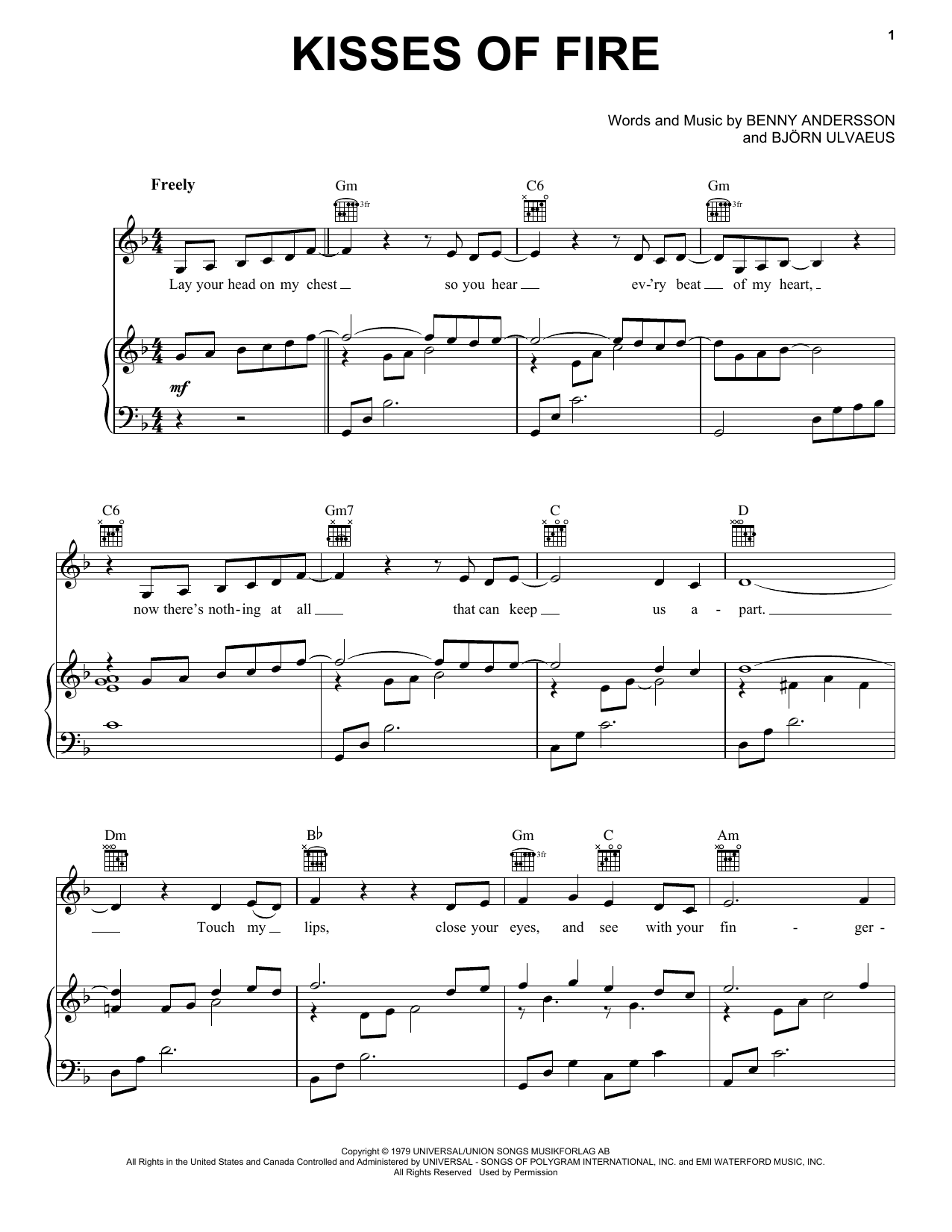 ABBA Kisses Of Fire (from Mamma Mia! Here We Go Again) sheet music notes and chords. Download Printable PDF.