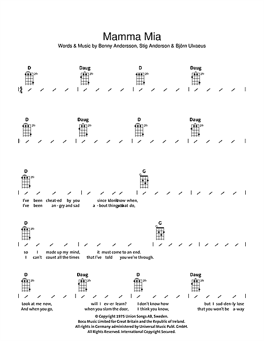 Abba Mamma Mia sheet music notes and chords. Download Printable PDF.