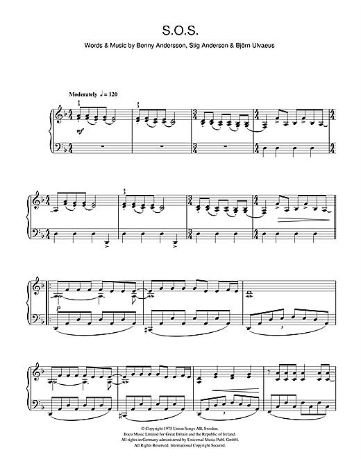 Abba Sos Sheet Music Notes Chords Download Printable Piano Vocal Sku 111242