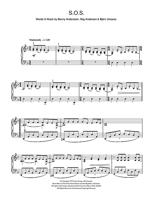 ABBA S.O.S. sheet music notes and chords