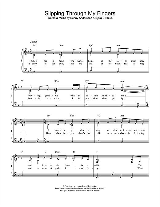 ABBA Slipping Through My Fingers sheet music notes and chords. Download Printable PDF.