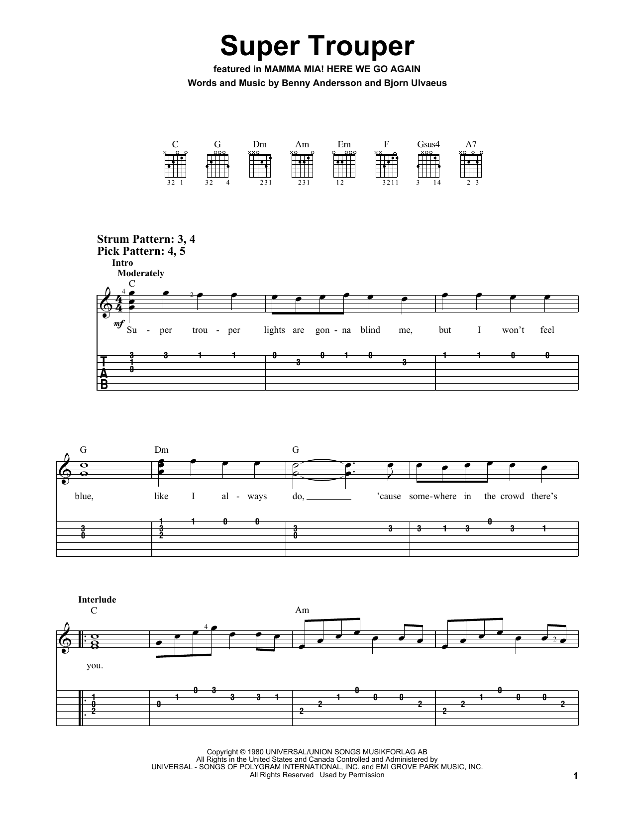 ABBA Super Trouper (from Mamma Mia! Here We Go Again) sheet music notes and chords