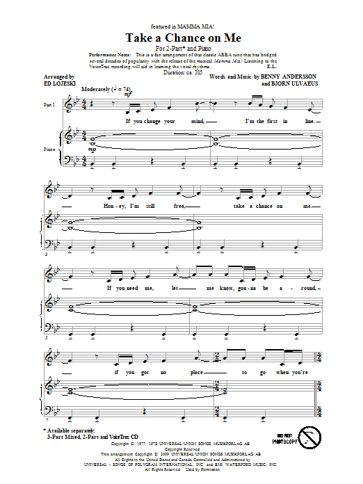 ABBA Take A Chance On Me (arr. Ed Lojeski) sheet music notes and chords