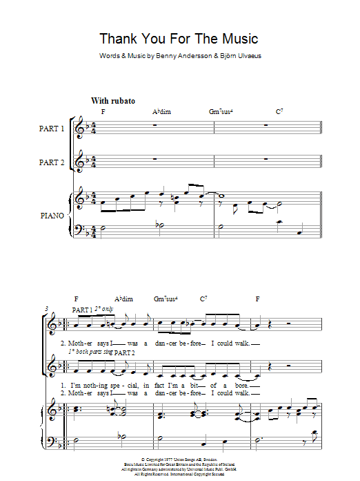 ABBA Thank You For The Music sheet music notes and chords. Download Printable PDF.