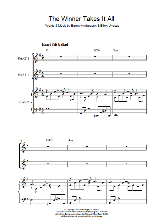 ABBA The Winner Takes It All sheet music notes and chords. Download Printable PDF.