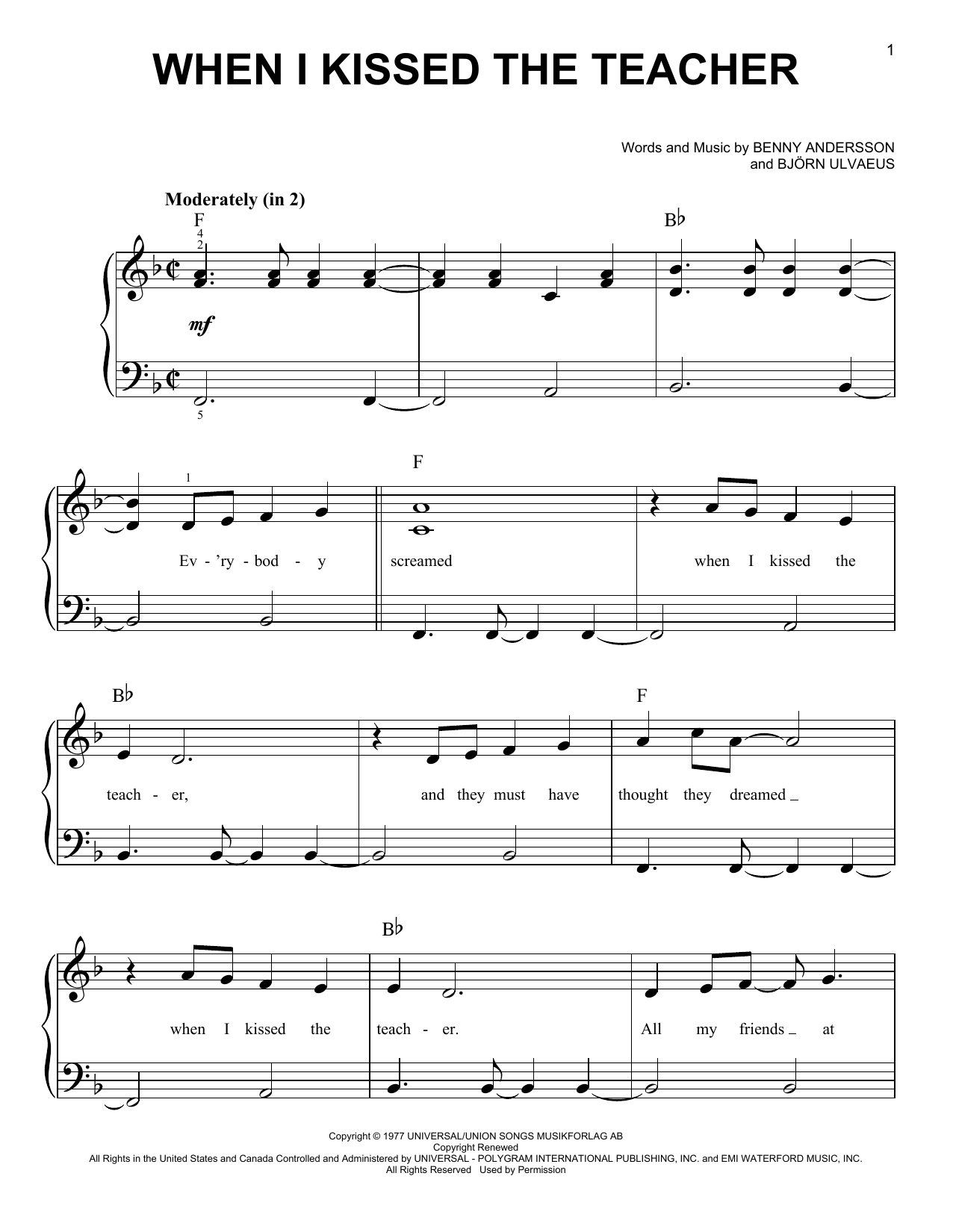 ABBA When I Kissed The Teacher (from Mamma Mia! Here We Go Again) sheet music notes and chords