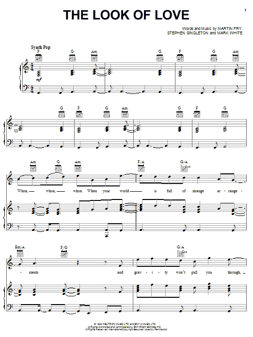 the look of love sheet music free