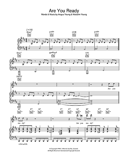 AC/DC Are You Ready sheet music notes and chords