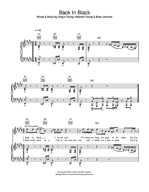 AC/DC Back In Black sheet music notes and chords. Download Printable PDF.