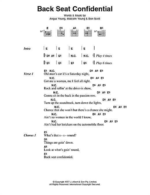 AC/DC Back Seat Confidential sheet music notes and chords. Download Printable PDF.