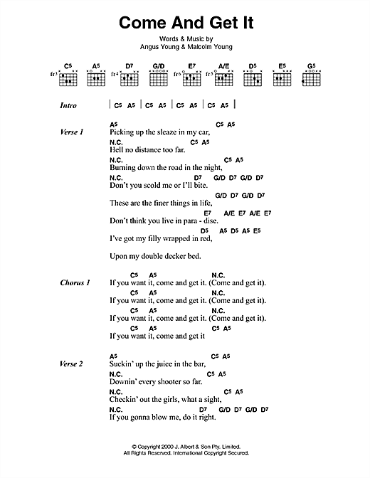 AC/DC Come And Get It sheet music notes and chords. Download Printable PDF.