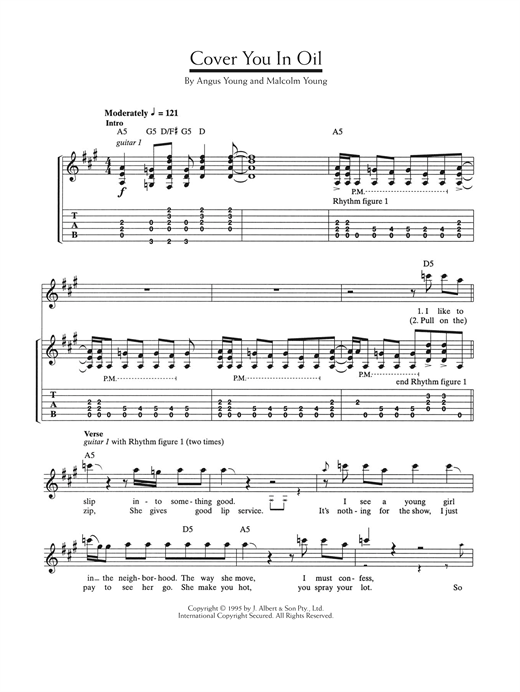 AC/DC Cover You In Oil sheet music notes and chords. Download Printable PDF.