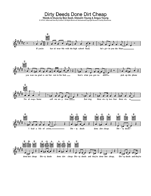 AC/DC Dirty Deeds Done Dirt Cheap sheet music notes and chords. Download Printable PDF.