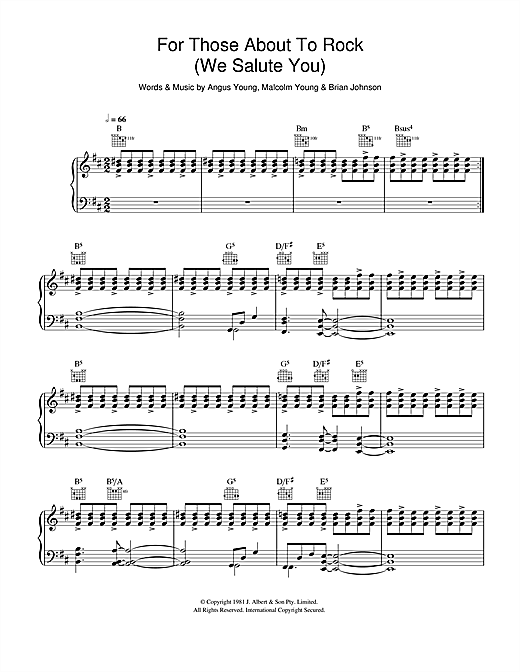 AC/DC For Those About To Rock (We Salute You) sheet music notes and chords. Download Printable PDF.