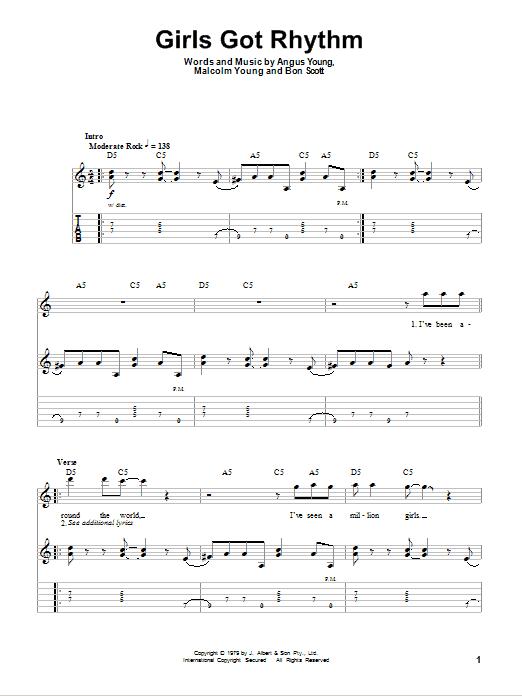 AC/DC Girls Got Rhythm sheet music notes and chords