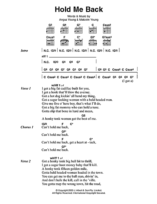 AC/DC Hold Me Back sheet music notes and chords. Download Printable PDF.
