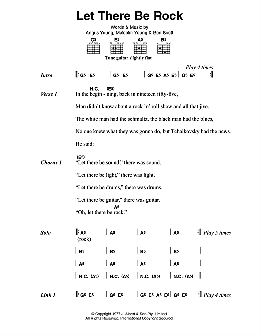 AC/DC Let There Be Rock sheet music notes and chords. Download Printable PDF.