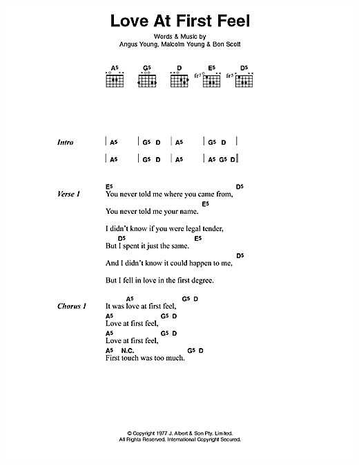 AC/DC Love At First Feel sheet music notes and chords. Download Printable PDF.