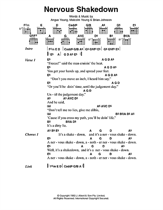 AC/DC Nervous Shakedown sheet music notes and chords. Download Printable PDF.