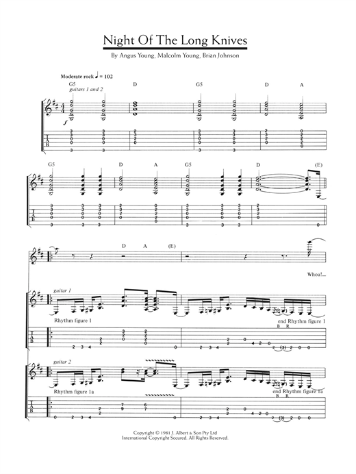 AC/DC Night Of The Long Knives sheet music notes and chords. Download Printable PDF.