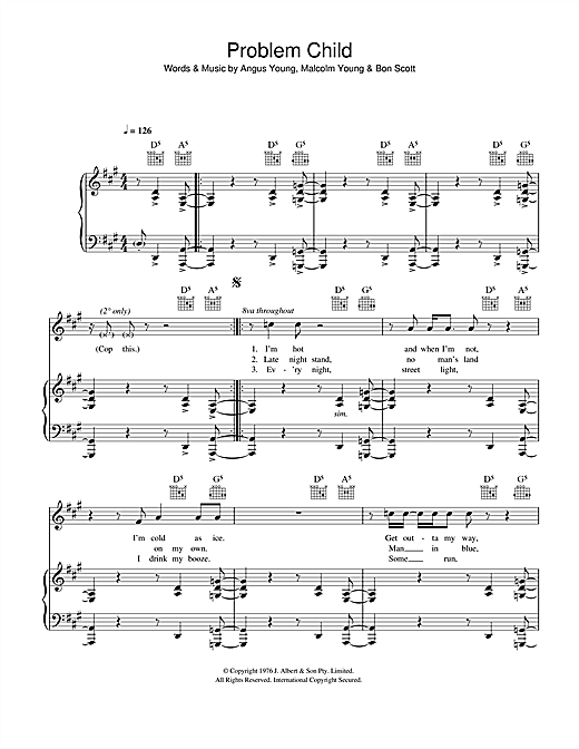 AC/DC Problem Child sheet music notes and chords. Download Printable PDF.