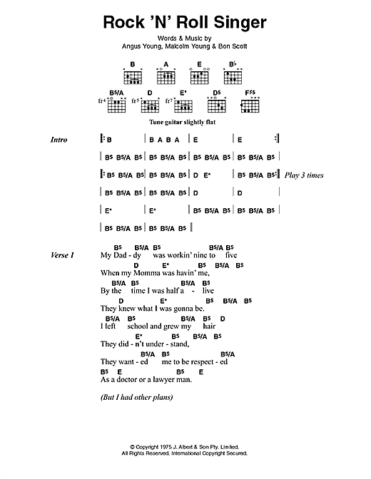 AC/DC Rock 'n' Roll Singer sheet music notes and chords. Download Printable PDF.