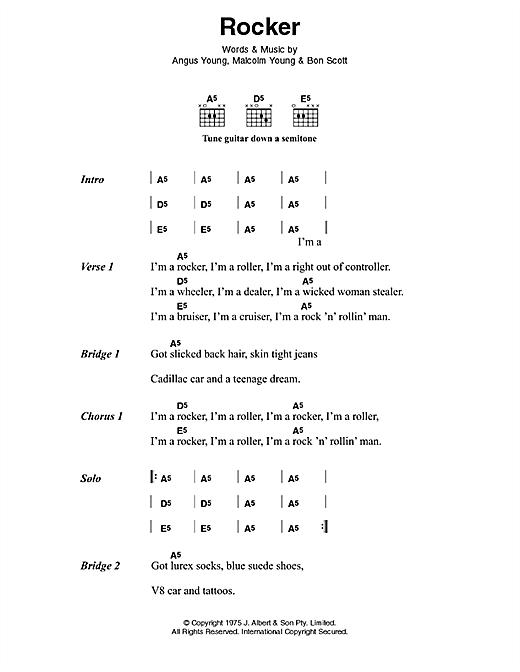 AC/DC Rocker sheet music notes and chords. Download Printable PDF.