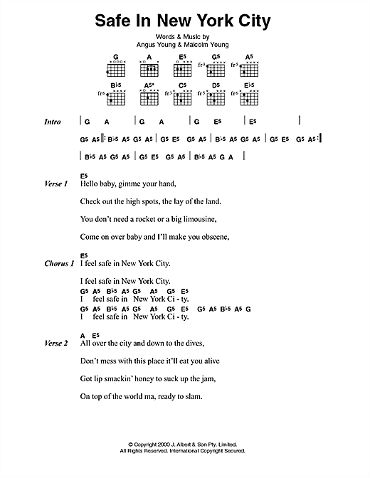 AC/DC Safe In New York City sheet music notes and chords. Download Printable PDF.