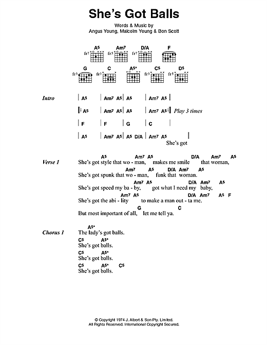 AC/DC She's Got Balls sheet music notes and chords. Download Printable PDF.