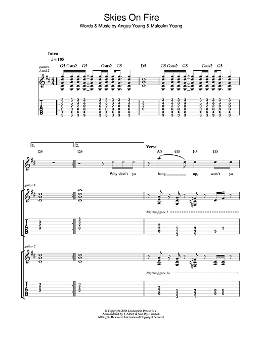 AC/DC Skies On Fire sheet music notes and chords. Download Printable PDF.