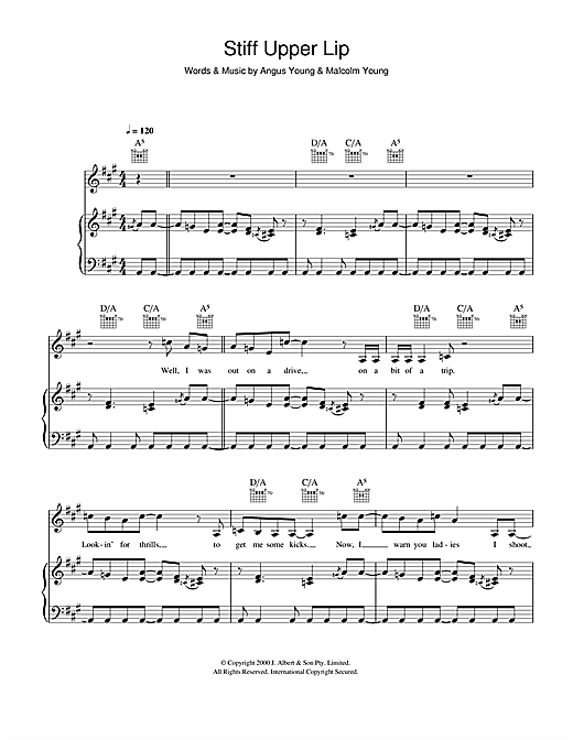 AC/DC Stiff Upper Lip sheet music notes and chords