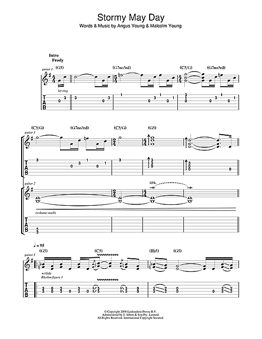 AC/DC Stormy May Day sheet music notes and chords. Download Printable PDF.
