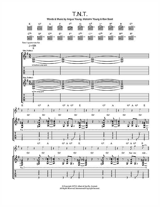 AC/DC T.N.T. sheet music notes and chords