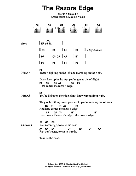 AC/DC The Razor's Edge sheet music notes and chords. Download Printable PDF.