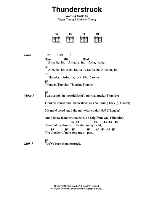 AC/DC Thunderstruck sheet music notes and chords