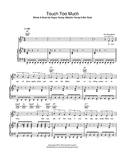 AC/DC Touch Too Much sheet music notes and chords. Download Printable PDF.