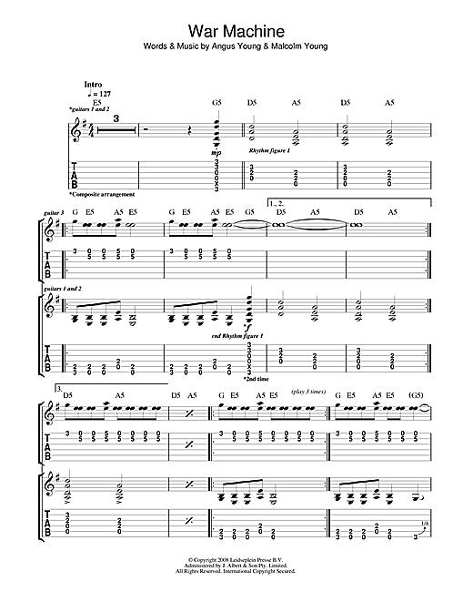 AC/DC War Machine sheet music notes and chords. Download Printable PDF.