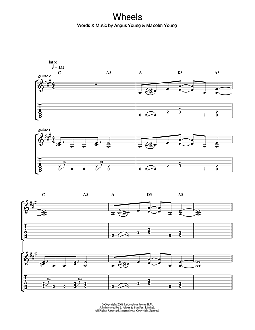AC/DC Wheels sheet music notes and chords. Download Printable PDF.