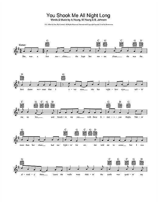 AC/DC You Shook Me All Night Long sheet music notes and chords
