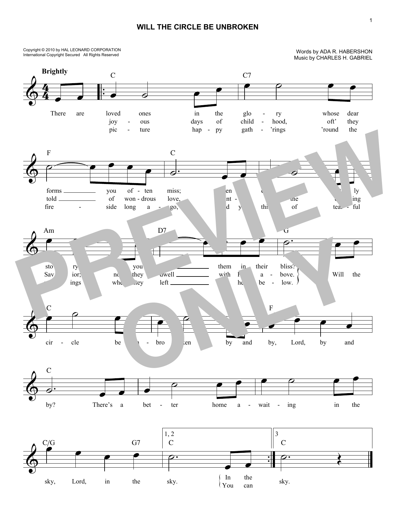 Ada R. Habershon Will The Circle Be Unbroken sheet music notes and chords