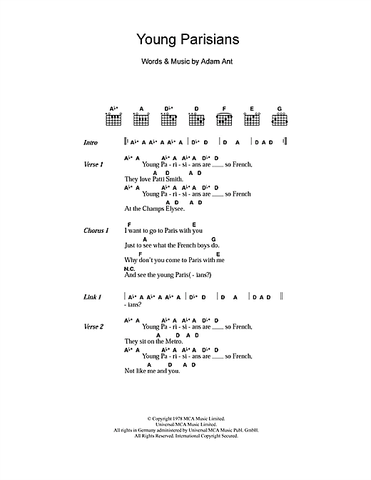 Adam and the Ants Young Parisians sheet music notes and chords. Download Printable PDF.