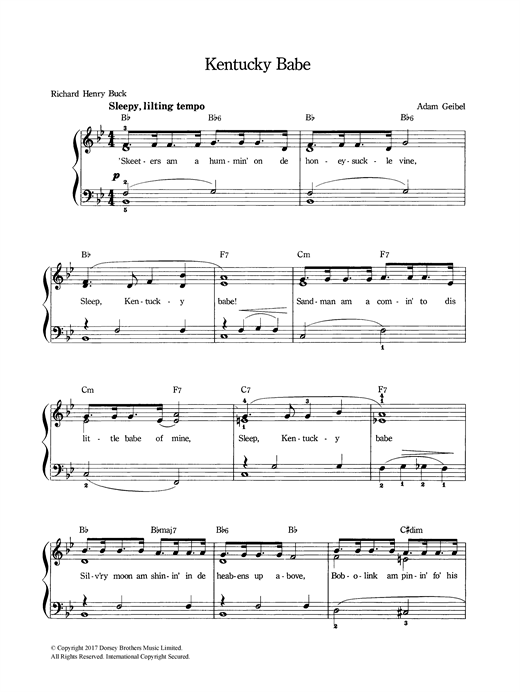 Adam Geibel Kentucky Babe sheet music notes and chords
