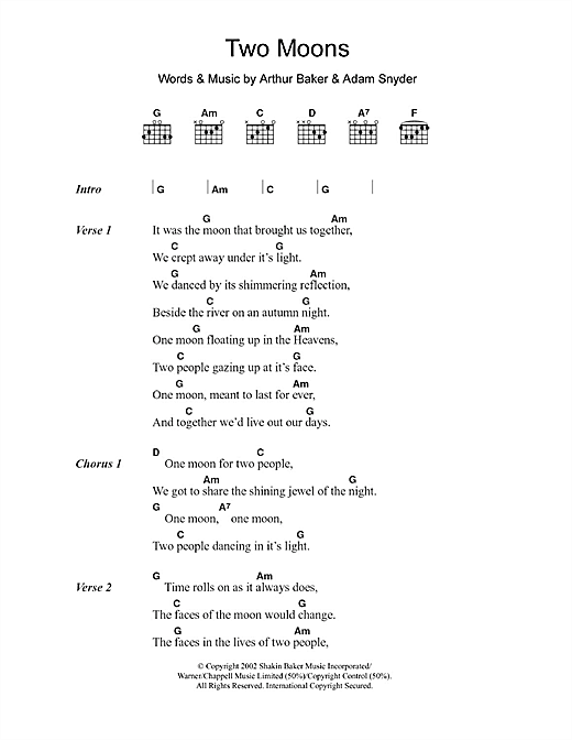 Adam Snyder Two Moons sheet music notes and chords. Download Printable PDF.