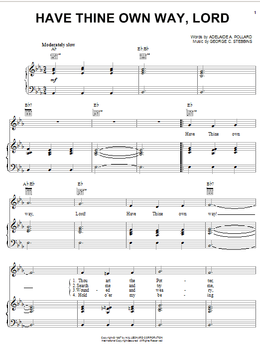 Adelaide A. Pollard Have Thine Own Way, Lord sheet music notes and chords. Download Printable PDF.