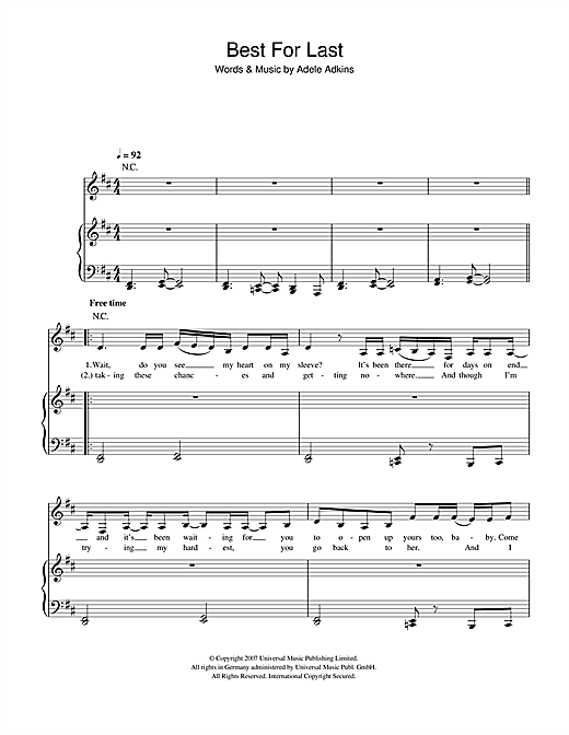 Adele Best For Last sheet music notes and chords. Download Printable PDF.