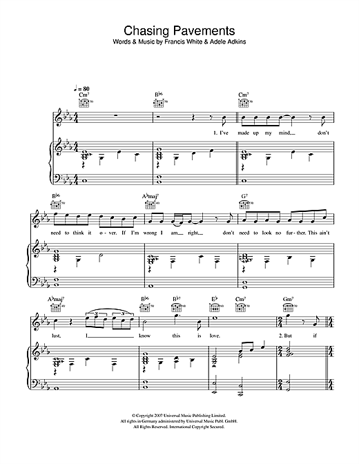 Adele Chasing Pavements sheet music notes and chords. Download Printable PDF.