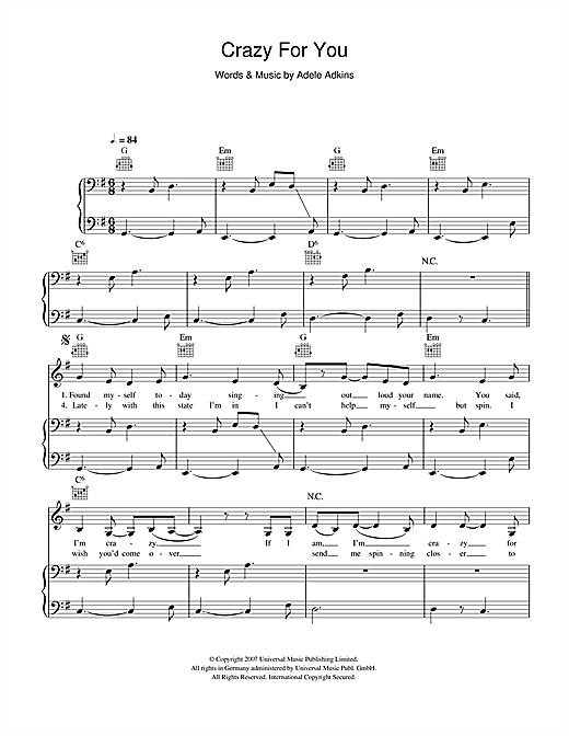 Adele Crazy For You sheet music notes and chords