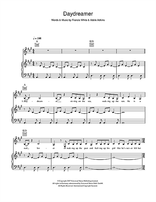 Adele Daydreamer sheet music notes and chords