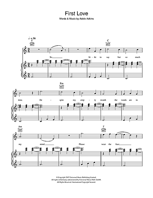 Adele First Love sheet music notes and chords. Download Printable PDF.